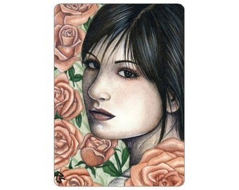 Rose Limited Edition ACEO Print Artist Trading Cards ATC flowers romantic portrait Fantasy Art -- Garden Series