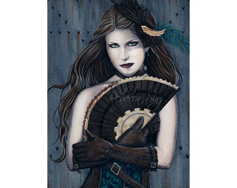 Steampunk Assassin ACEO print Artist Trading Cards ATC Fantasy Art Portrait Blood Victorian Corset Gears Fan