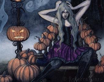 The Pumpkin Queen PRINT Halloween Gothic Fanstasy Art Ghosts Night Creepy 3 SIZES