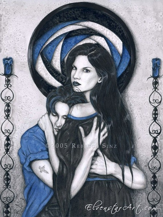 Dark Devotion ORIGINAL Painting - Gothic Vampire Art