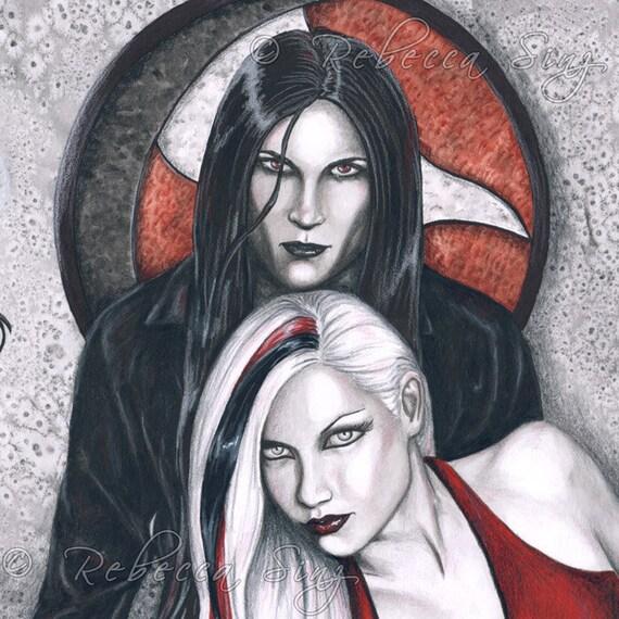 Dark Temptation ORIGINAL Painting - Gothic Vampire Art