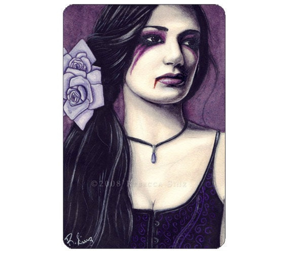 Eternal Twilight ACEO Print Artist Trading Cards ATC Fantasy Art Gothic Vampire Purple Roses Portrait Watercolor