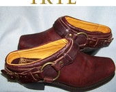 70s Frye mules brown leather harness shoes 7.5 med