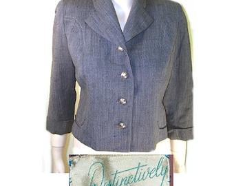 Vtg 50s Deweese secretary jacket gray small