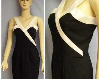 vtg 80s french poplin  black white dress Sm US 4 French 38