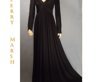 Maxi dress  slinky black dress Lord and Taylor by Jerry Marsh small Vintage  1960s