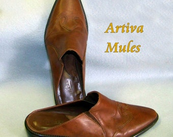 80s mules rockabilly artiva brown leather 6.5 med