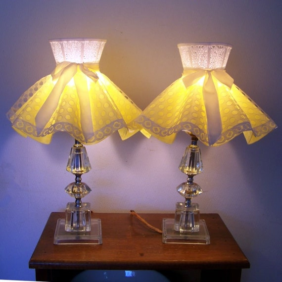50s Pair Glass Table Lamps Yellow Lace Shades Girls Bedroom
