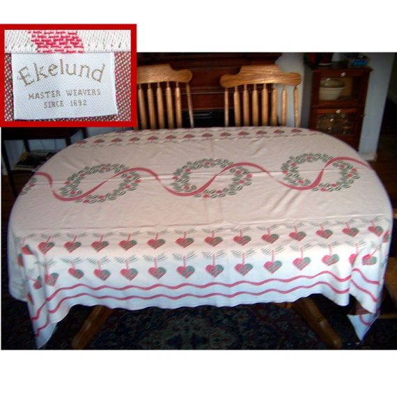 80s Ekelund woven tablecloth country hearts 58X90