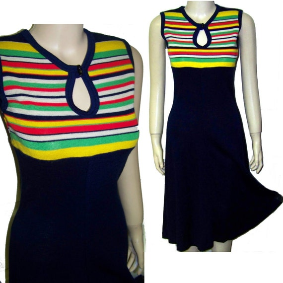 70s sleeveless knit dress wild stripe top small