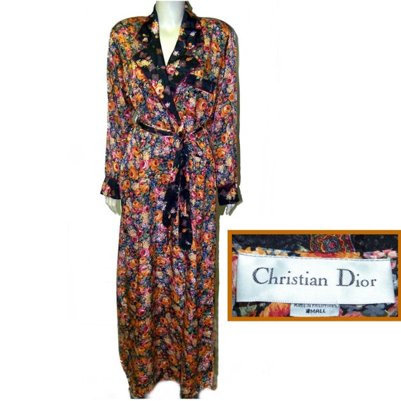 80s Christian Dior nylon robe wrap style with roses roses roses small