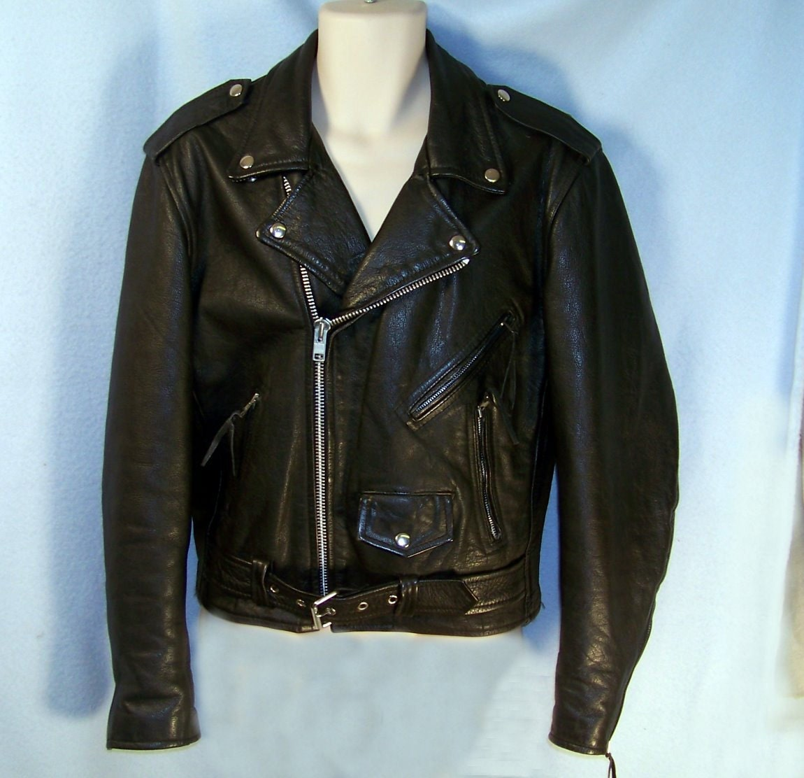 80s First Leather Fonz Motorcycle Jacket Mens