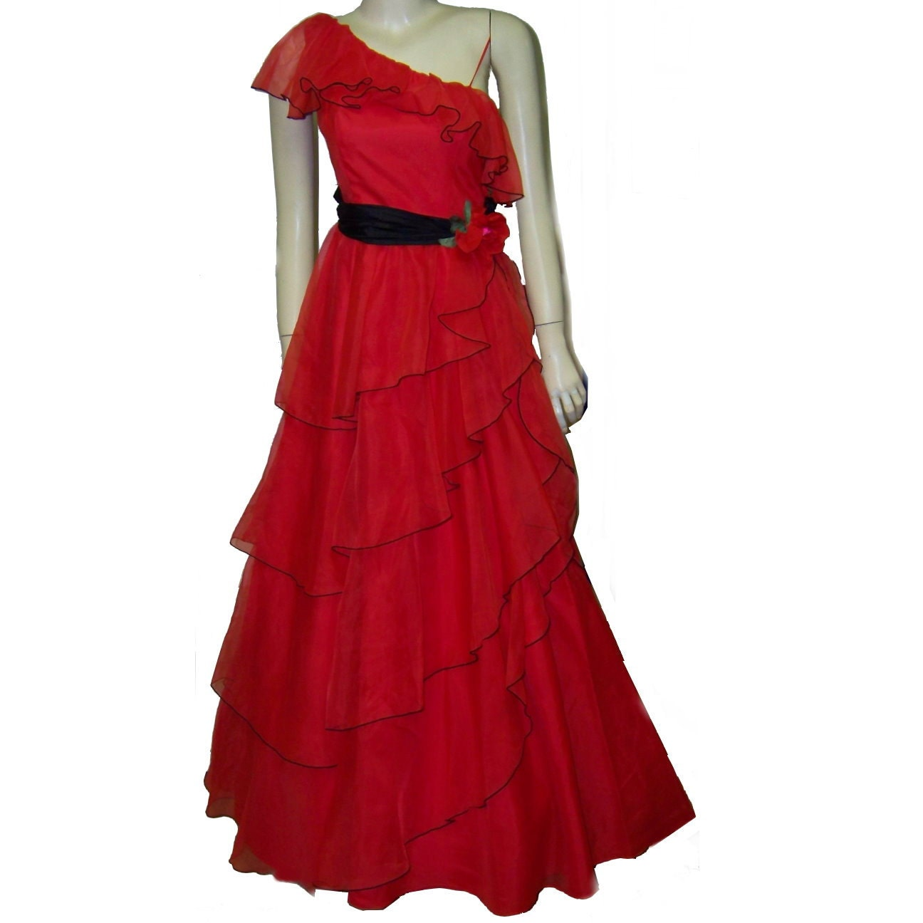 70s red nylon lolita gown prom dress one shoulder small