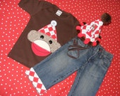 Sock Monkey Birthday Outfit shirt and jeans 2 piece set with personalization age and name