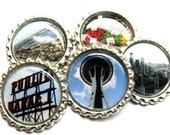 Seattle Fridge Magnet Set - A Sunny Day in Seattle - Bottle Cap Magnets on Etsy - Set of 5