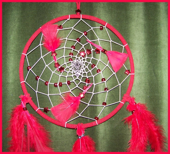 Full Thunder Moon Dream Catcher January 9, 2012 With Filligree Heart Charm, Red Leather, Red Feathers