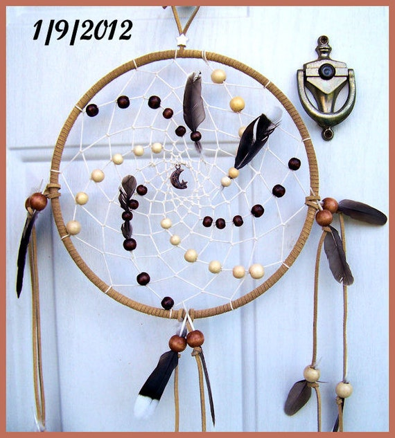 Dream Catcher - Full Moon January 9, 2012 With Crescent Moon Charm, Light Rust Leather and Dove Feathers