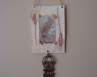 Ceres, Roman Goddess of Agriculture and Motherly Love, Altered Art Card ACEO