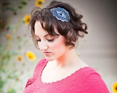 Charcoal Beaded  Womens Headband