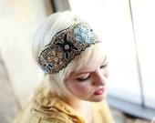 Boho Beaded Sequin Headband Womens and Teen Navy Gold Aqua
