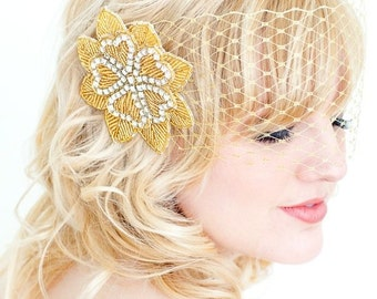 Golden Beaded and Rhinestone Hair Flower Accessorie by bethany lorelle on Etsy
