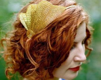 Gold Mermaid Crown - Art Deco Gold Sea Shell Beaded Headband - Halloween