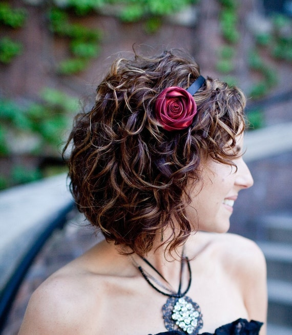 LESLIE  - Coiled Blood Red Rose Satin Headband