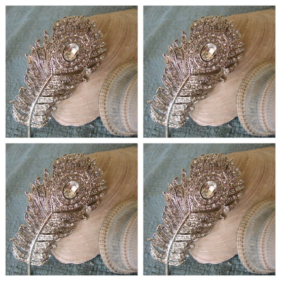 4 Peacock bridesmaid hair accessories - Wedding Hair Accessories - vintage wedding - crystal hair piece