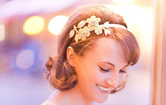 Luminous Beaded Floral Leaf and Floral Headband