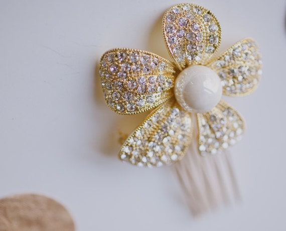 Gold Bridal Crystal and Pearl Flower Hair Pin 22k Gold Plated