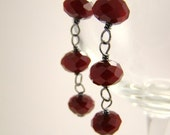 Ruby Quartz and Sterling Silver Earrings, Holly-go-lightly