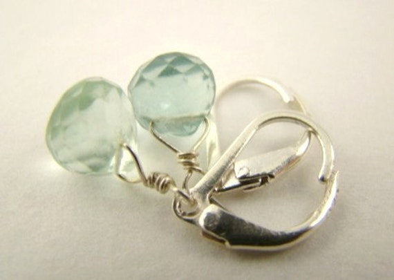 Pale Green Faceted Flourite and Sterling Silver Earrings, Princess Fiona