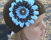 Chocolate brown beanie w\/ Flower Clip