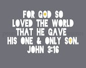Gray Bible Verse Art Print - John 3:16 - For God So Loved the World