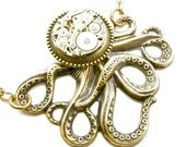Steampunk Brass Mechanical Octopus Necklace