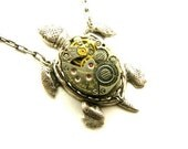 Steampunk Silver Sea Turtle Necklace