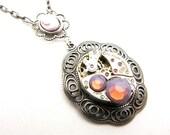 Steampunk Silver Lavender Cameo Necklace