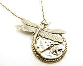 Steampunk Brass Art Nouveau Cosmic Dragonfly Necklace