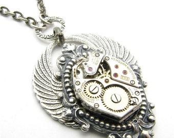 Steampunk Silver Arcane Angel Necklace