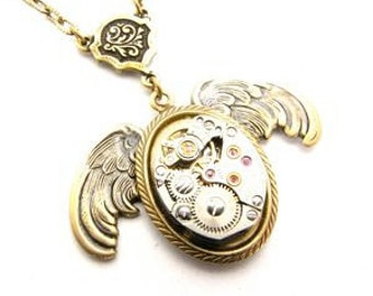 Steampunk Brass Wings of Time Necklace