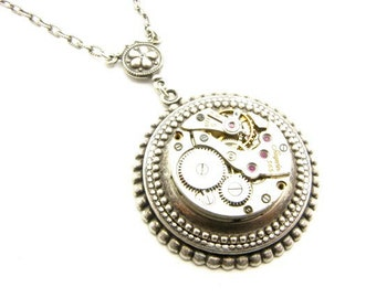 Steampunk Silver Cog Works Necklace