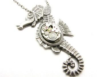 Steampunk Silver Seahorse Necklace