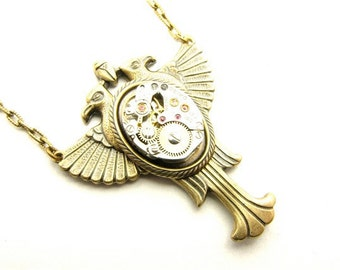 Steampunk Brass Double Raven Egyptian Necklace