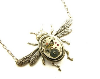 Steampunk Silver Straight Wing Bee Necklace