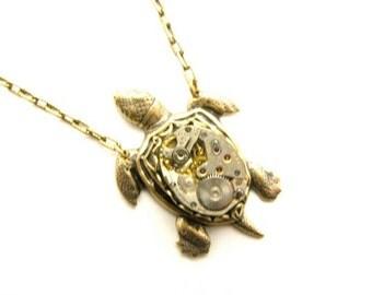 Steampunk Brass Sea Turtle Necklace