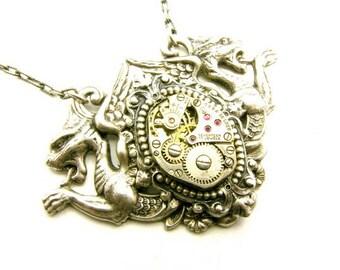 Steampunk Silver Dragon Necklace