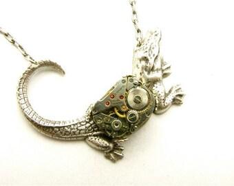 Steampunk Silver Mechanical Alligator Necklace