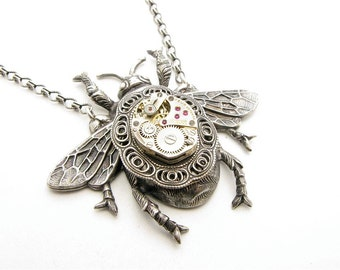 Giant Steampunk Silver Mechanical Bee Necklace