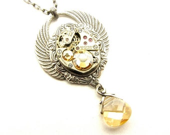 Steampunk Silver Winged Cameo Golden Shadow Necklace
