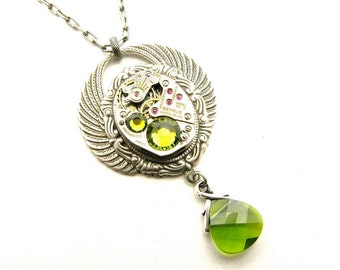 Steampunk Silver Winged Cameo Peridot Necklace